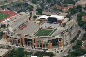 Avian Averting System client installation picture of Darrell Royal Stadium in Austin Texas